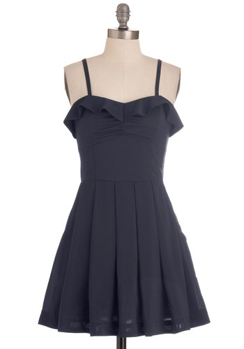 Be My Navy Dress - Short, Blue, Solid, Cutout, Pleats, Ruffles, Party, A-line, Spaghetti Straps, Prom