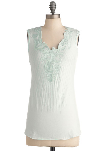 Peppermint Tea Top - Green, Solid, Embroidery, Sleeveless, Casual, Mid-length