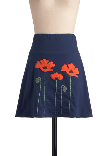 Planting Poppies Skirt - Short, Blue, Floral, Casual, Embroidery, A-line, Eco-Friendly, Summer, Cotton, Blue