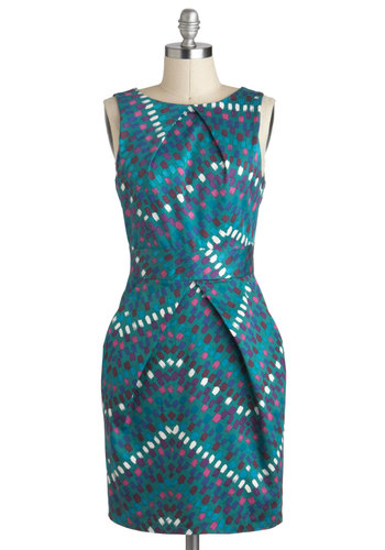 Stroke of Genius Dress - Cotton, Mid-length, Blue, Multi, Print, Pockets, Work, Sleeveless, Exposed zipper, 60s, Mod