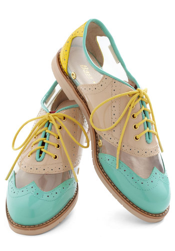 Rachel Antonoff for Bass New Orleans Attitude Shoe by Bass - Multi, Yellow, Tan / Cream, Green, Casual, Menswear Inspired, Spring, Low, Leather, Pastel