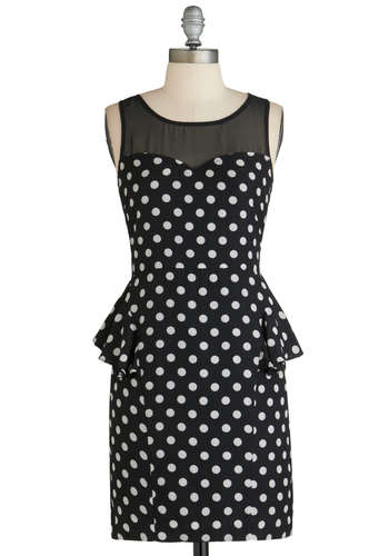 PR Panel Dress - Short, Black, White, Polka Dots, Party, Bodycon / Bandage, Peplum, Sleeveless, Scoop, Work, Pinup, Vintage Inspired