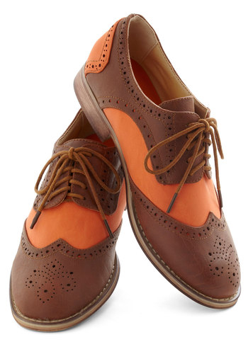 Swoon Phases Flat - Orange, Brown, Solid, Cutout, Menswear Inspired, Lace Up, Low