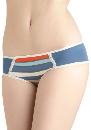 All Out Comfortable Undies in Print by PACT - Blue, Multi, Solid, Stripes, Lace, Trim, Cotton, Eco-Friendly