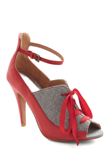 Fashion Forward Thinking Heel in Red - Red, Grey, Solid, Menswear Inspired, High, Lace Up, Peep Toe, Leather, Party, Pinup, Vintage Inspired, Variation, 60s