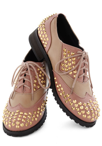 Glam Poet Flat - Low, Pink, Tan / Cream, Gold, Studs, Menswear Inspired, Casual, Urban