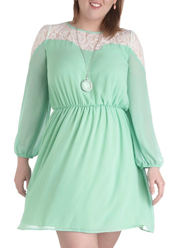 Rosemary to the Occasion Dress in Plus Size - Sheer, Mint, White, Solid, Lace, Daytime Party, A-line, Long Sleeve, Crew, Pastel, Spring, Summer