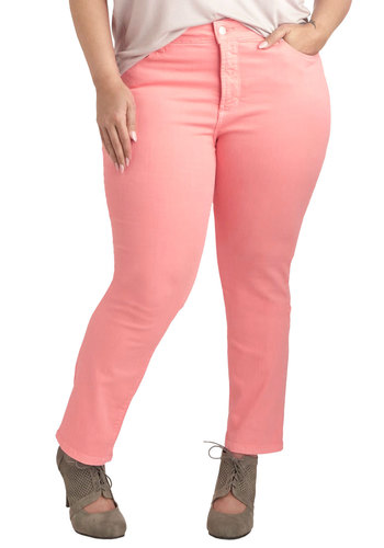 Shopping Assistant Jeans in Watermelon - Plus Size - Cotton, Denim, Pink, Solid, Pockets, Casual, Skinny, Pastel, Variation