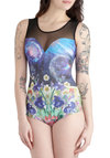 When Worlds Collide Bodysuit - Sheer, Mid-length, Multi, Yellow, Blue, Purple, Pink, Black, White, Girls Night Out, Sleeveless, Sweetheart, Print