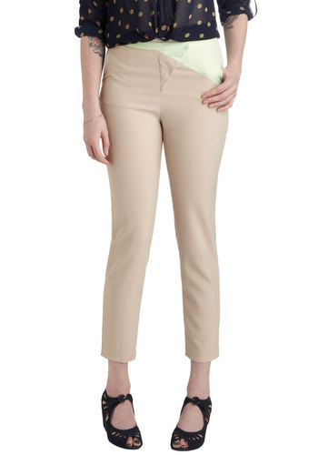 Resort Roaming Pants - Tan, Green, Solid, Work, Casual, Skinny, Pockets