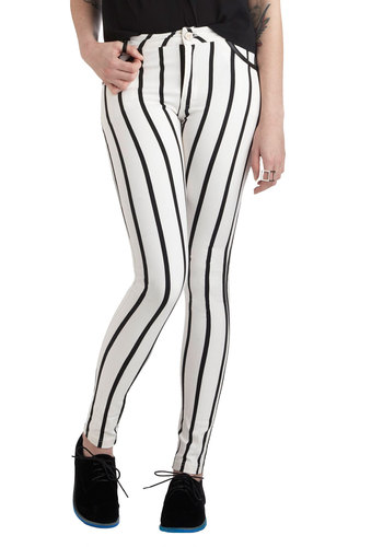 Arena Rocker Jeans by Motel - International Designer, White, Black, Stripes, Skinny, Party, Urban, Cotton, Pockets, Denim