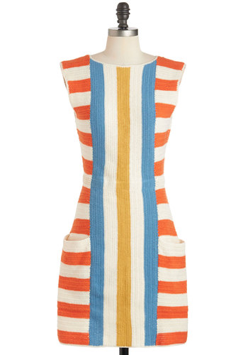 Lauren Moffatt That's My Barbecue Dress by Lauren Moffatt - Multi, Orange, Yellow, Blue, White, Stripes, Cutout, Knitted, Pockets, Casual, Shift, Sleeveless, Crew, Beach/Resort, Luxe, Spring, Cotton, Short