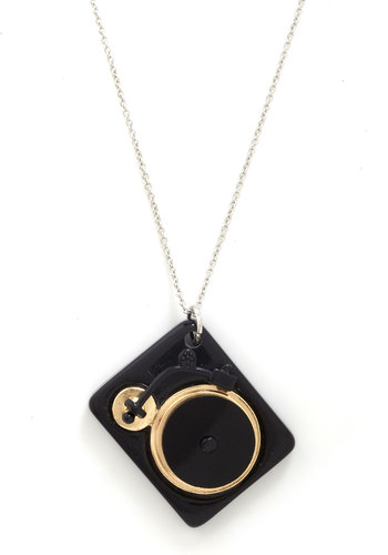 Positive Spin Necklace - Black, Gold, Solid, Music