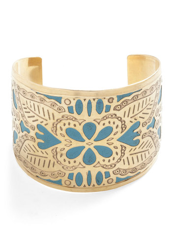 The Cuff of Dreams Bracelet - Blue, Gold, Print, Vintage Inspired