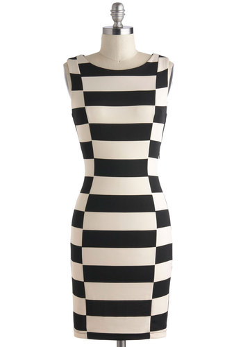 Every Switch Way Dress - Mid-length, Black, White, Checkered / Gingham, Party, Bodycon / Bandage, Sleeveless, Boat, Girls Night Out, 60s, Mod