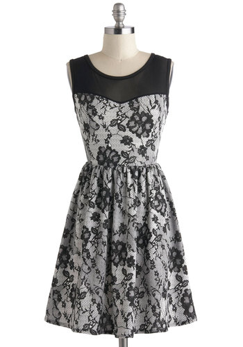 Elegant Illusion Dress - Short, Black, Grey, Floral, Cutout, Exposed zipper, Party, A-line, Sleeveless, Holiday Party, Vintage Inspired, Sheer, Scoop, Fit & Flare