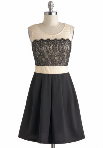 Right Time And Lace Dress - Mid-length, Black, Tan / Cream, Lace, Pleats, Cocktail, Sleeveless, Scoop, Party, Vintage Inspired, Prom, Top Rated