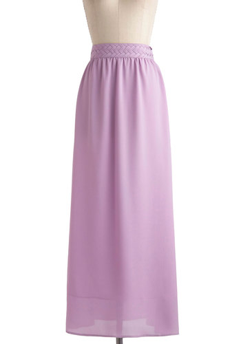 Always Play Flare Skirt in Lilac - Long, Purple, Solid, Casual, Beach/Resort, Boho, Spring, Vintage Inspired, 70s, Pastel, Variation, Maxi, Basic