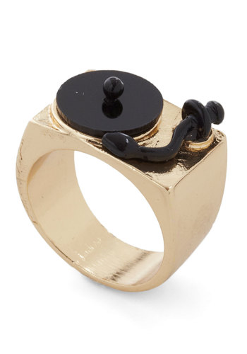 Positive Spin Ring - Black, Gold, Solid, Quirky, Music, Gold