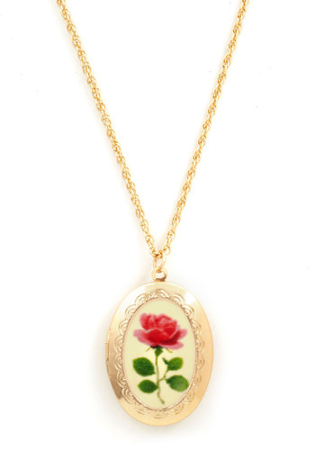Long Stemmed Roads Necklace - Green, Pink, White, Gold, Floral, Scallops, Fairytale, French / Victorian, Graduation