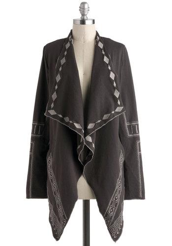 Top-Rope Radiant Cardigan - Cotton, Black, Grey, Print, Embroidery, Long Sleeve, Pockets, Casual, Boho, Folk Art, Rustic, Travel, Long