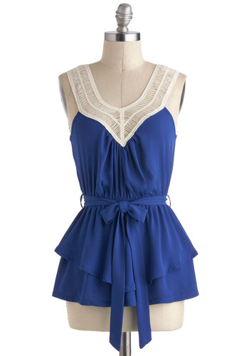 Tangled Up In Cobalt Blue Top - Blue, Tan / Cream, Solid, Crochet, Tiered, Belted, Casual, Sleeveless, Mid-length, Scoop, Summer