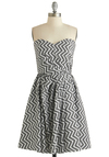 Make It Zig Dress - Black, White, Print, Party, Fit & Flare, Strapless, Sweetheart, Pleats, Exclusives, Cotton, Long, Chevron