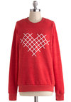 Cross-Stitch My Heart Sweatshirt - Red, White, Casual, Long Sleeve, Crew, Print, Mid-length, Winter, Travel, Sweatshirt