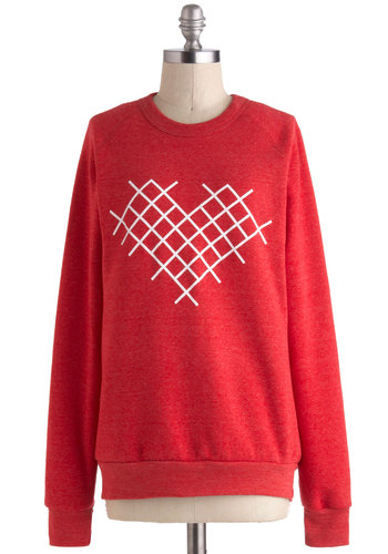 Cross-Stitch My Heart Sweatshirt - Red, White, Casual, Long Sleeve, Crew, Print, Mid-length, Winter, Travel