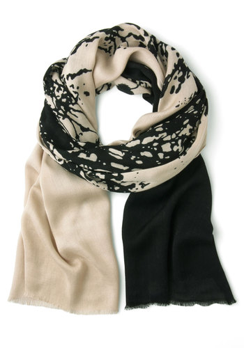 Tree to Be You and Me Scarf - Cream, Black, Print, Winter, Top Rated
