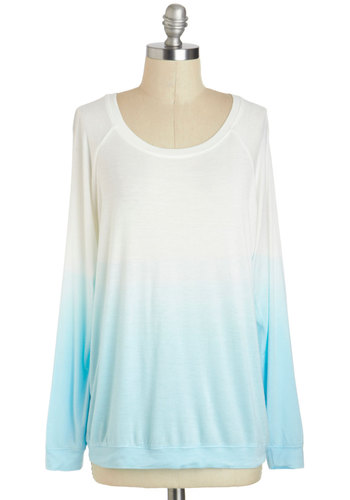 Dissolve into Daydreams Top - Mid-length, Multi, Blue, White, Ombre, Casual, Long Sleeve, Crew, Travel, Long Sleeve