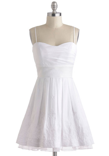 Mornings in the Meadow Dress - White, Solid, Embroidery, Eyelet, Pleats, Belted, Daytime Party, Fit & Flare, Spaghetti Straps, Sweetheart, Wedding, Graduation, Cotton, Summer, Bride