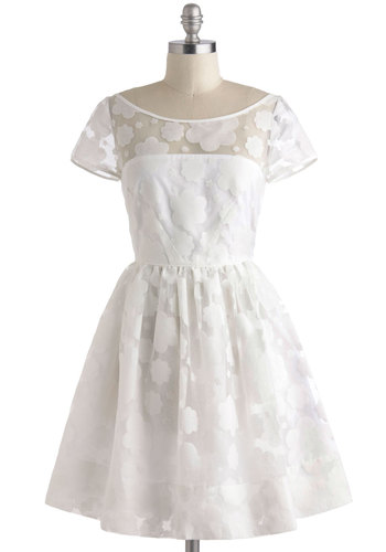 Beneath the Clouds Dress by Orla Kiely - White, Floral, Lace, A-line, Short Sleeves, Party, Spring, International Designer, Wedding, Graduation, Vintage Inspired, 50s, Luxe, Sheer, Mid-length, Bride