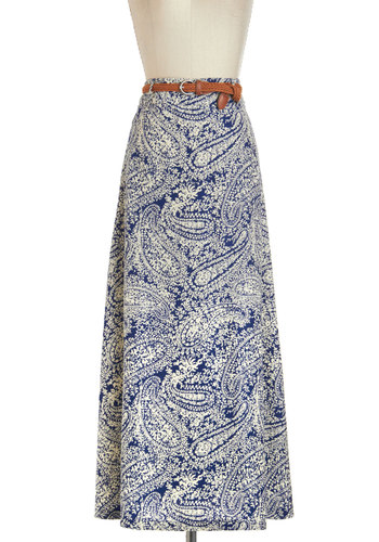 Acoustic Together Skirt - Blue, Tan / Cream, Paisley, Belted, Maxi, Long