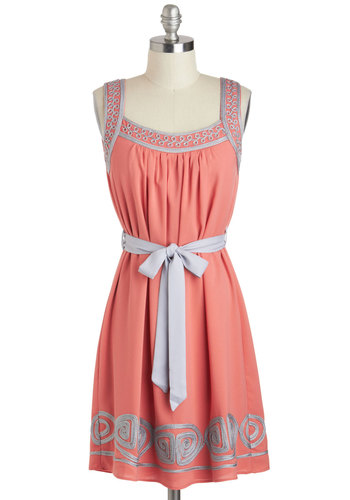 Curly Cute Dress - Mid-length, Pink, Grey, Embroidery, Belted, Casual, Tent / Trapeze, Sleeveless, Summer