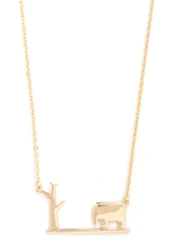 From Tusk to Dawn Necklace - Gold, Print with Animals, Novelty Print, Gold
