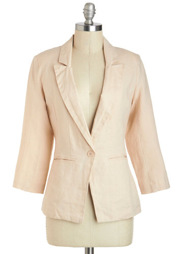 Horseback in the Day Blazer - Mid-length, 1, Cream, Solid, Work, 3/4 Sleeve, Spring