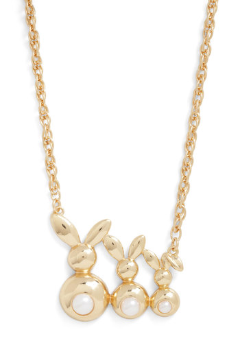 Akin to Adorable Necklace - Gold, Pearls, Print with Animals, Gold