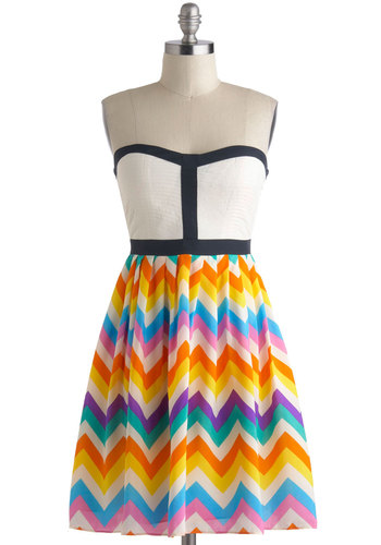 Chevron a Whim Dress - Multi, Quilted, Trim, 60s, Short, Chevron, Casual, Vintage Inspired, A-line, Strapless, Sweetheart, Daytime Party, Summer