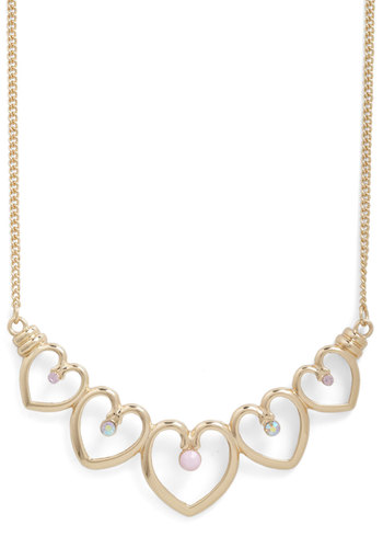 Heart Chain Necklace - Gold, Solid, Beads, Rhinestones