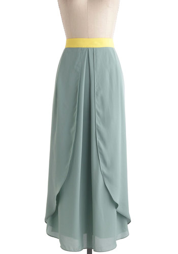 Breezy Being Green Skirt - Green, Yellow, Party, Long, Beach/Resort, Maxi