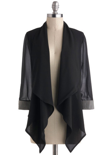 Filmmaker My Day Blazer - Black, 3/4 Sleeve, Work, Cocktail, Solid, French / Victorian, Sheer, Fall, Press Placement, Short