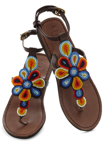 Long Walks on the Beads Sandal - Flat, Leather, Multi, Solid, Beads, Flower, Casual, Boho, Beach/Resort, Summer