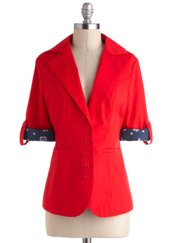 Darling Dog Walker Blazer by Tulle Clothing - Red, Blue, Solid, Buttons, Pockets, Cotton, Mid-length, 1, Work, Casual, Nautical, Scholastic/Collegiate, 3/4 Sleeve