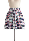 In Ship Shape Skirt by Tulle Clothing - Blue, Red, White, Pockets, Cotton, Short, Print, Buttons, Nautical, A-line