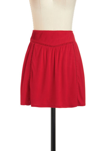 Cross Country Caravan Skirt by Tulle Clothing - Red, Solid, Short, Casual