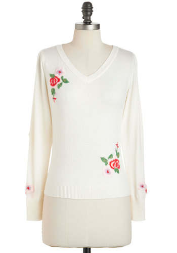 A Moment's Roses Sweater by Tulle Clothing - White, Red, Green, Floral, Long Sleeve, Embroidery, V Neck, Casual