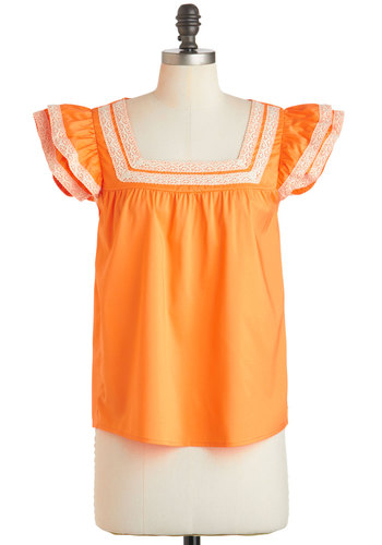 Grove Your Own Way Top by Tulle Clothing - Orange, Tan / Cream, Mid-length, Ruffles, Trim, Casual, Boho, Vintage Inspired, 70s, Cap Sleeves, Spring, Summer