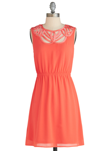 Papaya Skies Dress - Coral, Solid, Party, A-line, Sleeveless, Cutout, Vintage Inspired, Mid-length, Pastel, Exclusives