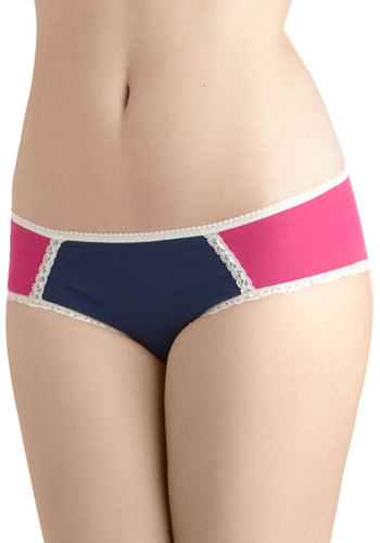 All Out Comfortable Undies in Colorblock by PACT - Pink, White, Lace, Trim, Colorblocking, Cotton, Solid, Blue, Eco-Friendly